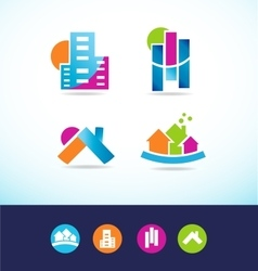 Real estate abstract logo icon set vector image