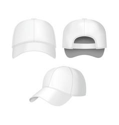 realistic 3d white baseball cap set vector image vector image
