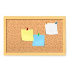 Realistic corkboard with pushpins and blank paper vector