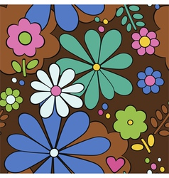 seamless floral fabric retro background vector image