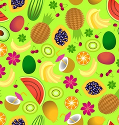 Seamless pattern of tropical fruit vector