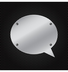 Silver speech bubble on dark background vector image