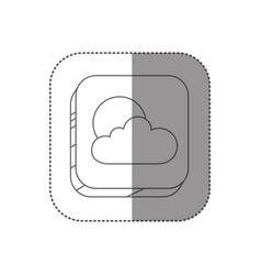sticker square silhouette button with contour of vector image vector image
