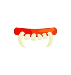 Vampire teeth icon in cartoon style vector