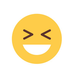 yellow smiling cartoon face laughing emoji people vector image