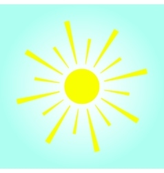 Yellow sun on blue background vector