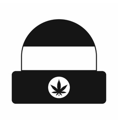 Hat with sign cannabis icon simple style vector