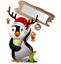 Cute penguin christmas cartoon with blank board vector
