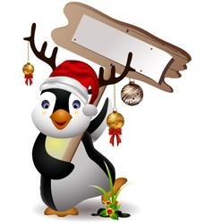 cute penguin christmas cartoon with blank board vector image