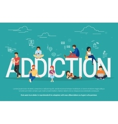 Addiction concept of young people vector