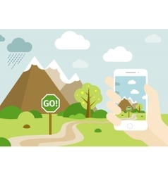 Smartphone Go Location Game vector image