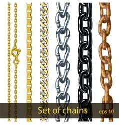Set of chains gold silver steel painted metal vector