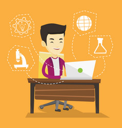 Student working on laptop vector