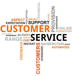 word cloud customer service vector image