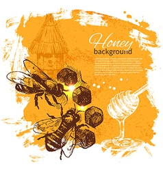 Hand drawn sketch honey background vector