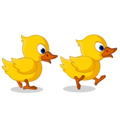 Cute two baby duck cartoon walking vector