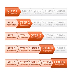 Orange progress bar for order process vector