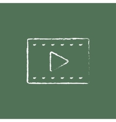 Film frame icon drawn in chalk vector