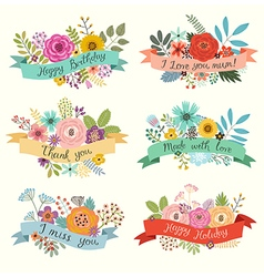 Floral set with ribbons vector image