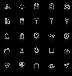 Job resume line icons with reflect on black vector