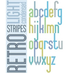 Poster retro bright condensed font striped compact vector
