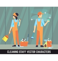 Cleaning staff characters woman and man vector