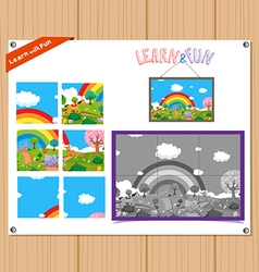 Cartoon of Education Jigsaw Puzzle Game for vector image
