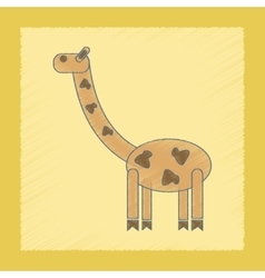 Flat shading style icon kids giraffe vector