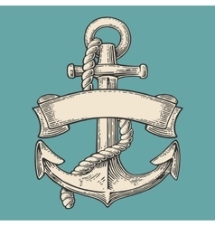 Anchor with ribbon and rope isolated on blue vector