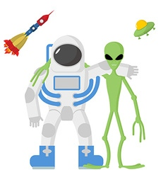 Astronaut and alien friends on a white background vector image