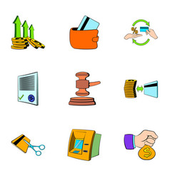 Auction icons set cartoon style vector