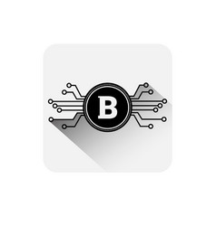 Bitcoin coin symbol icon digital web money crypto vector