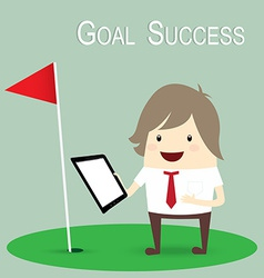 Businessman is happy strategy marketing goal vector