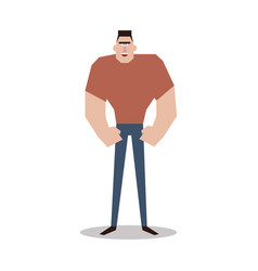 cartoon character muscular man vector image