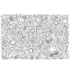 cartoon set of Science theme objects and vector image
