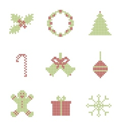 Christmas embroidered elements vector