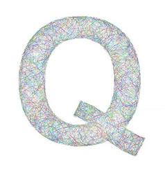 Colorful sketch font design - letter Q vector image