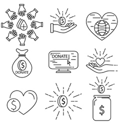 Danation line icon set vector image vector image
