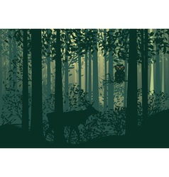 Deer and abstract forest landscape vector