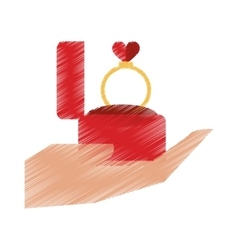 Drawing hand hold engagement box with ring vector