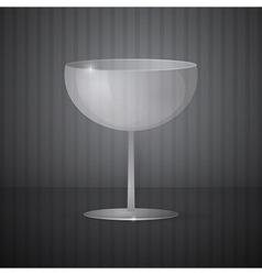 Empty wine glass on dark grey background vector