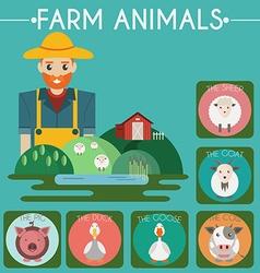 Farm baby animals and birds icons set vector