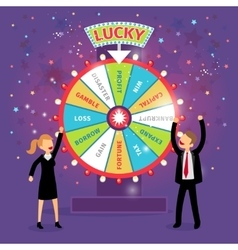 Financial wheel of fortune business vector
