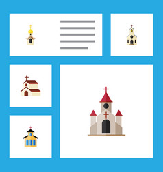 Flat icon church set of building structure vector