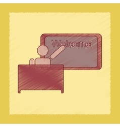 Flat shading style icon table board teacher vector