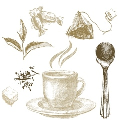 hand drawn tea set vector image vector image