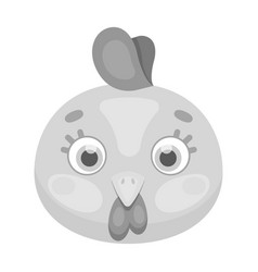 hen muzzle icon in monochrome style isolated on vector image vector image