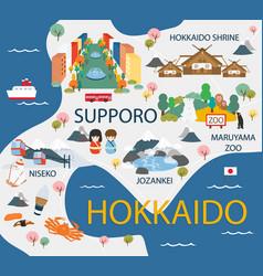 Hokkaido travel map in flat vector