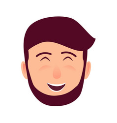 laughing young man face flat icon vector image