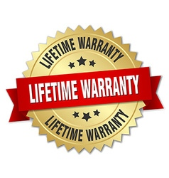 Lifetime warranty 3d gold badge with red ribbon vector